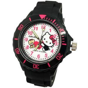 【三麗鷗系列】凱蒂貓Kitty運動彩帶手錶-黑色 (網路販售限定款)