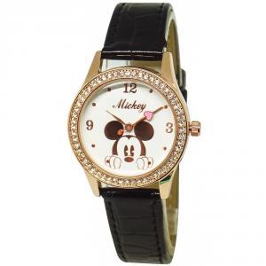 酷黑米奇水晶鑽精緻腕錶