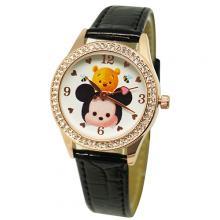 靚黑TsumTsum水晶鑽精緻腕錶